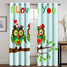 Modern 3d Couple Owls Window Curtains Pair Soundproof Grommet Double Pleat Sliding Curtains For Kids Room Green Curtains Drapes
