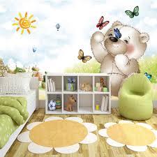 ذاتية اللصق خلفيات للأطفال غرفة مخصص صور 3d الكرتون الدب الأطفال