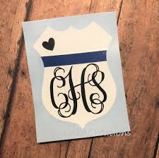 Excited To Share This Item From My Etsy Shop Police Monogram Vinyl Decal Police Wife Decal Back The Blue Thin Blue Police Decal Monogram Vinyl Decal Etsy