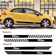 Lattice Graphics Car Side Skirt Sticker Sticker Stripes Style Auto Accessories Body Stickers For Kia Rio Custom Vinyl Decal Wish