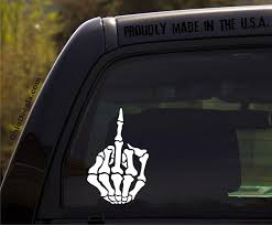 Amazon Com Skeleton Middle Finger Decal Skull Hand Fuck You Vinyl Decal For Car Or Truck Window Kitchen Dining