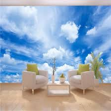 Shop Custom 3d Mural Wallpaper Blue Sky White Clouds Wall Painting Art Wallpaper Living Room Bedroom Modern Wall Papers Home Decor 3d Online From Best Wall Stickers Murals On Jd Com Global