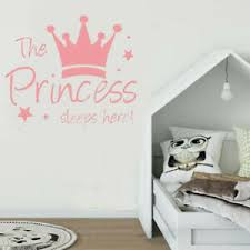 Pink The Princess Sleeps Here Wall Sticker Decal Mural Baby Girl Room Decor Ebay