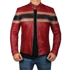 boys real leather jacket red moto