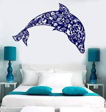 Vinyl Wall Decal Dolphin Seashells Sea Ocean Style Anchor Stickers Uni Wallstickers4you