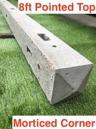 8ft 2400mm Concrete Morticed Corner Fence Posts Pointed Top