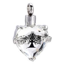 clear crystal heart cremation pendant