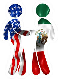 American Flag And Mexican Flag Shaking Hands Decal Sticker 09