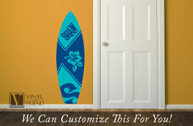 Surf Board 2 Custom Name With Hibiscus Flower Wall Decor Vinyl Decal Lettering Beach And Nautical Theme 2430