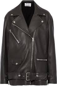 Dark gray Myrtle oversized leather biker jacket   Sale up to 70% off   THE  OUTNET   ACNE STUDIOS   THE OUTNET