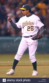 Oakland Athletics Octavio Dotel pumps his fist after striking out Stock  Photo - Alamy