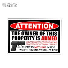 Volkrays Attention Car Sticker Owner Armed Warning Decal 2nd Amendment Gun Firearm Pistol Permit Waterproof Vinyl 13cm 8cm Car Stickers Aliexpress