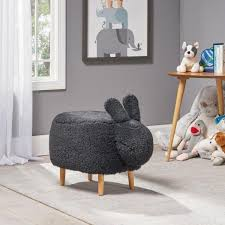 Noble House Bajada Black And Natural Kids Bunny Ottoman Stool 68279 The Home Depot