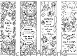 Set Of 8 Coloring Bookmarks Four 4 With Quotes And Four 4