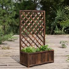 Anticorrosive Wood Outdoor Fence Fence Garden Balcony Fence Fence Flower Stand Flower Climbing Frame Set Flower Shelf Flower Pot Flower Box