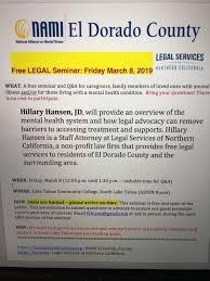 Free Legal Seminar: Friday, March 8 in South Lake Tahoe hosted by NAMI El  Dorado County - NAMI El Dorado County - NAMI El Dorado County