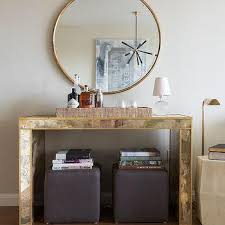gold antiqued mirrored console table