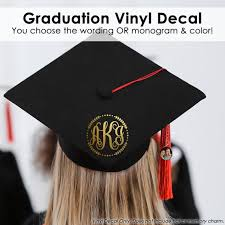 Graduation Cap Vinyl Graduation Cap Monogram Graduation Cap Etsy