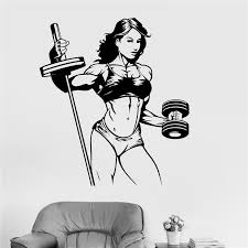 Vinyl Wall Decal Fitness Woman Gym Sports Girl Stickers Cartoon Vinyl Room Art Decor Home Decor Removable Wall Sticker Artistic Wall Decals Baby Nursery Wall Decals From Joystickers 11 04 Dhgate Com