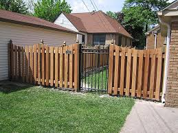 Wood Shadowbox With Metal Gate Wooden Fence Fence Design Wood Fence