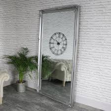 full length silver wall leaner mirror