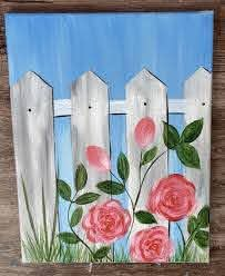Garden Fence Painting Part Two In 2020 Simple Acrylic Paintings Small Canvas Art Canvas Painting Diy