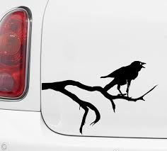 Car Crow On Branch Raven Vinyl Car Decal Sticker Etsy