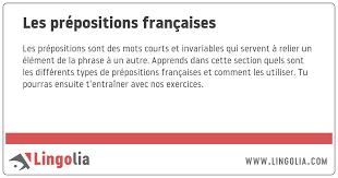 les prépositions françaises