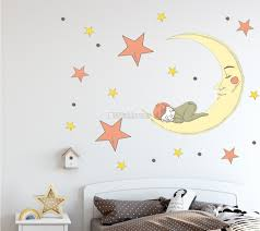 Nursery Smiling Moon With Orange And Yellow Stars Wall Decal Sticker Wall Decals Wallmur