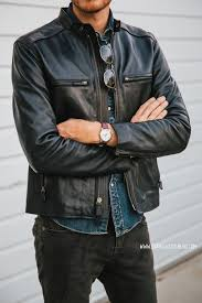 chambray shirt and a black leather jacket