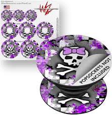 Decal Style Vinyl Skin Wrap 3 Pack For Popsockets Purple Princess Skull