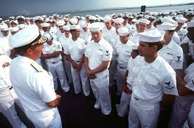 Admiral Wesley McDonald, Commander in CHIEF, United States Atlantic Fleet,  left, speaks to the crew of the battleship USS IOWA (BB 61) during a port  visit - PICRYL Public Domain Image