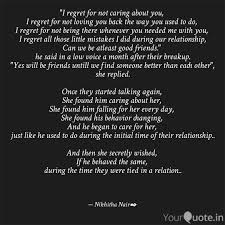 i regret for not caring quotes writings by nikhitha nair