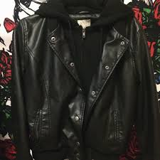 pac sun leather jacket w hood