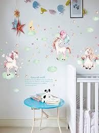 S E Stores Unicorn Wall Stickers Sticker For Girls Kids 3d Decal Unico Unicornaval