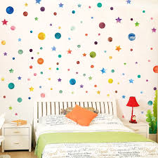 Diy Rainbow Color Wall Stickers Colorful Circles Stars Shape Decals Decor Removable Vinyl Nursery Kids Room Kitchen Home Mural Wall Stickers Aliexpress