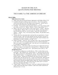 raisin in the sun quotations for writing the family the
