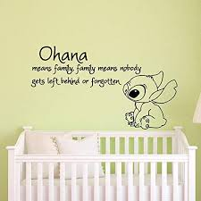 Amazon Com Miseda Wall Art Stickers Quotes And Sayings Stitch Decal Stitch Sticker Ohana Means Family Means Nobody Get Left Behind Or Forgotten Lilo And Stitch Baby Nursery Home Kitchen