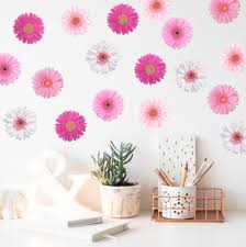 Pink Gerber Daisies For Mothers Daughters Flower Wall Decals Flower Wall Flower Nursery