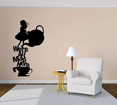Amazon Com We Re All Mad Here Tea Teapot Cup Girl Rabbit Fairy Tale Cartoon Quote Phrase Wall Vinyl Sticker Car Mural Decal Art Decor Lp4561 Handmade
