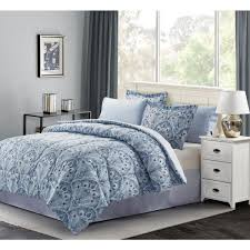 piece blue twin bed in a bag set