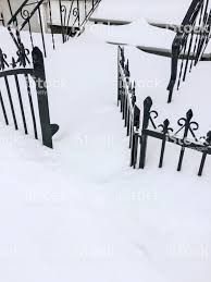 Iron Fence In Deep Snow Stock Photo Download Image Now Istock