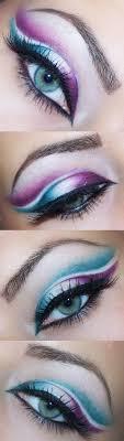 purple makeup for blue eyes cat eye