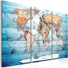 Amazon Com Artgeist Pinboard World Map 35 4 X 23 62 Cork Board Canvas Print Wall Art 3 Pcs Memoboard With 50 Pins Noticeboard Message Board Image Picture Home Decor Travel Map Map Of