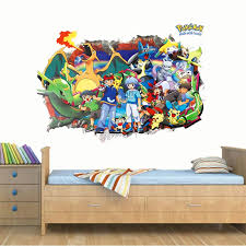 Cartoon Pikachu Red Through Wall Stickers For Kids Room Bedroom Decorations 3d Pokemon Go Wall Art Decals Diy Posters Sticker For Kids Room Wall Stickers For Kidswall Sticker Aliexpress