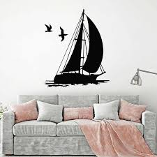 Sailor Boat Wall Decal Ship Yacht Nautical Seagull Ocean Theme Vinyl Window Stickers Kids Bedroom Bathroom Home Decor Mural E560 Wall Stickers Aliexpress