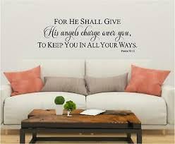 Psalm 91 Angels Wall Sticker Vinyl Decals Art Home Bible Verse Decor Lettering Ebay