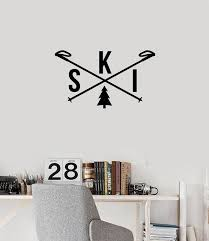 Vinyl Wall Decal Ski Skiing Word Skis Winter Sports Room Decoration St Wallstickers4you