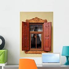 Amazon Com Wallmonkeys Stylish Window With Shutters Wall Decal Peel And Stick Graphic Wm63905 24 In H X 18 In W Home Kitchen