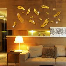 Kd 16 Pcs 3d Acrylic Mirror Feather Wall Sticker Decals Living Room Decor Spl Fashion Ho Mirror Wall Stickers Baby Room Wall Decals Wall Stickers Home Decor